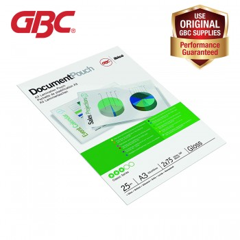 GBC Laminating Pouch - 75 Micron, 303 x 426mm, A3 with High Gloss Finish, 25 pcs