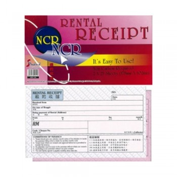 Rental Receipt Book Non Carbon Required (NCR) - 178 x 102mm, 2 x 25s